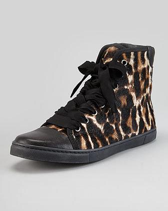 Lanvin Leopard-Print Calf Hair Hi-Top Sneaker