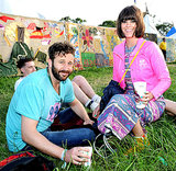 Chris O'Dowd and his wife Dawn Porter lounged on the grass.