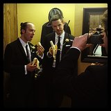 Damien Fahey prepared for his wedding with his groomsmen and bananas.  Source: Instagram user zenken310