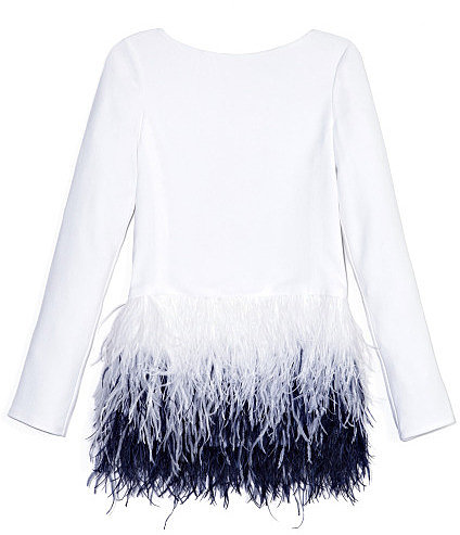 Preorder Prabal Gurung Long Sleeve Blouse With Cascading Ostrich Feather Embroidery