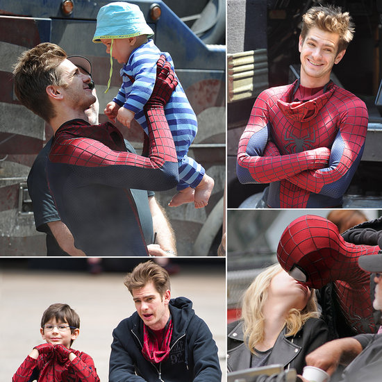 Off-Camera Cuteness: Andrew Garfield Hangs Out as Spider-Man