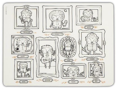 The When I Grow Up ($17) silicone placemat from Modern-Twist features an adorable gallery of colorable characters.