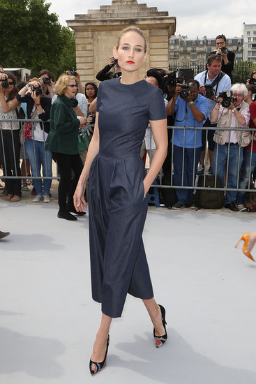 Leelee Sobieski showed off a Dior blue denim, short-sleeved jumpsuit with Dior Andy Warhol printed pumps.