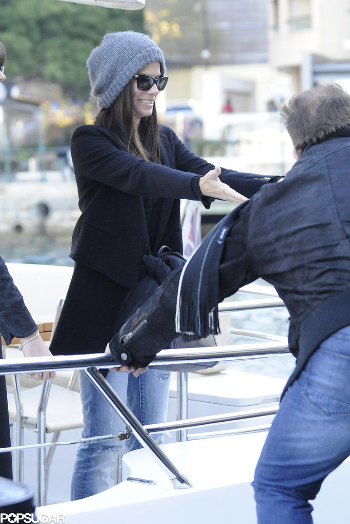 Sandra Bullock boarded a boat in the Sydney Harbor.