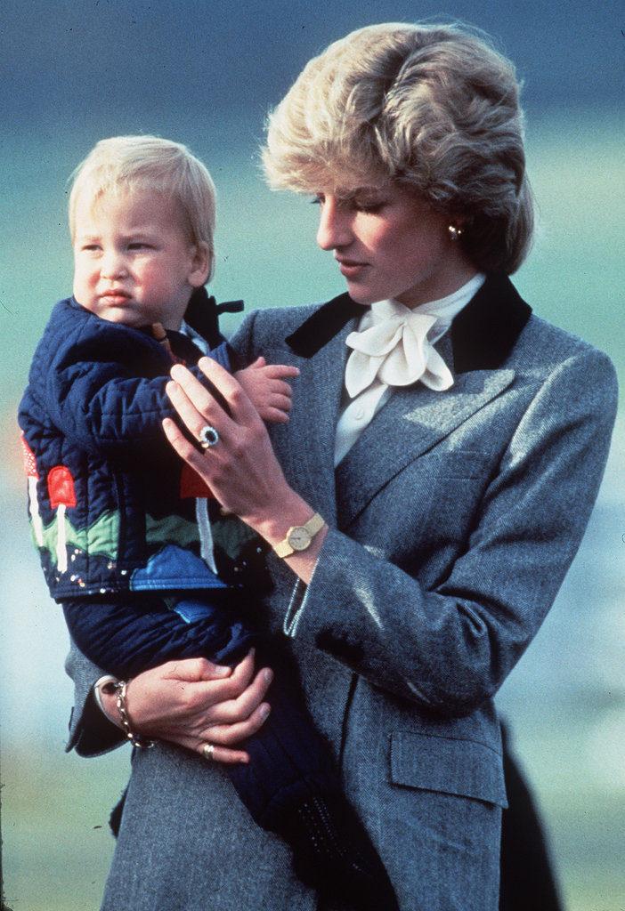 Princess Diana carried baby Prince William while in Aberdeen, Scotland, in October 1983.