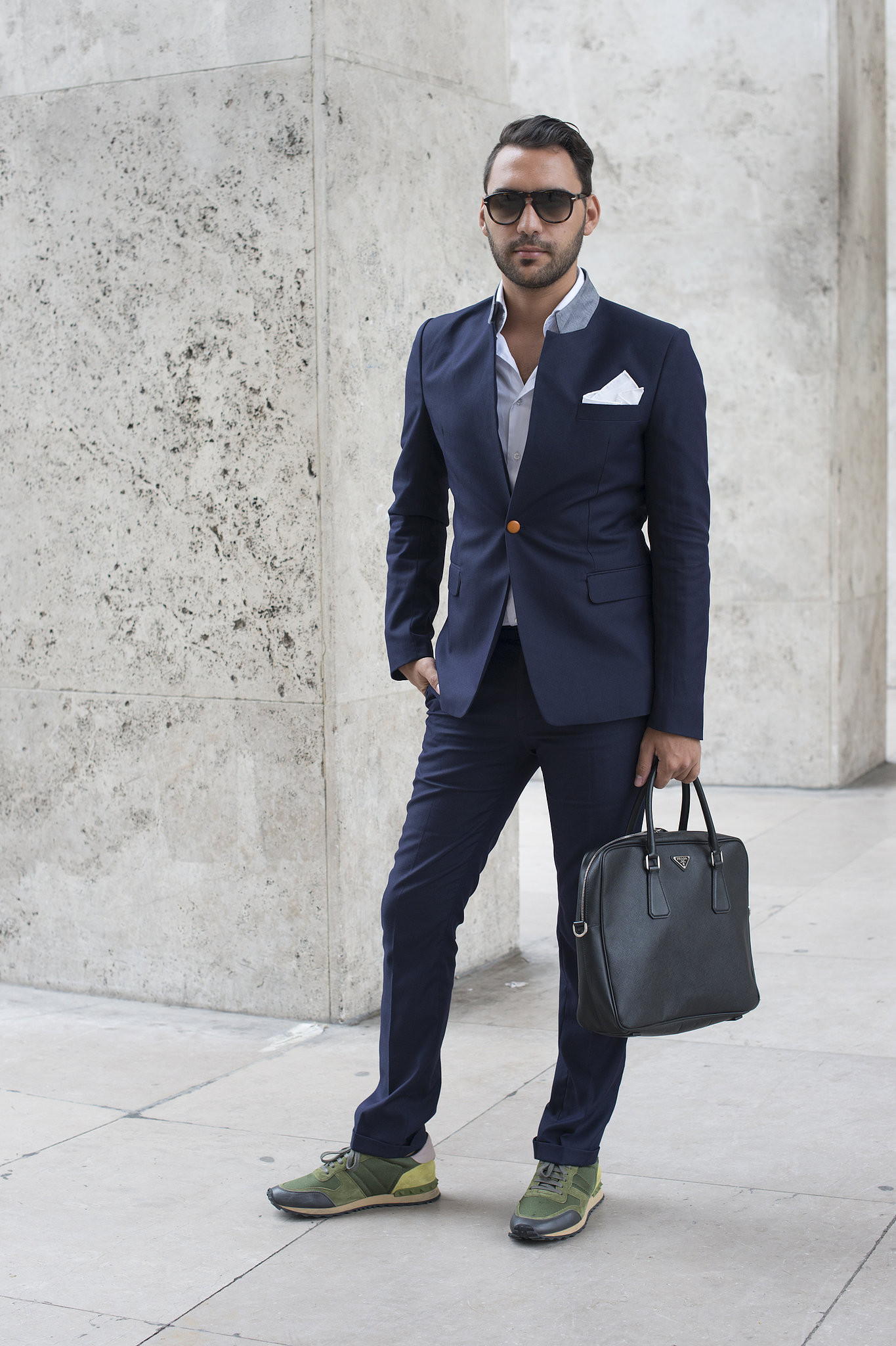 The Staid Navy Suit Feels Personalized With A Pocket Square And His And Hers The Best Street