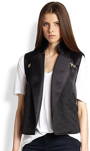 Rebecca Minkoff Quilted-Panel Satin Vest