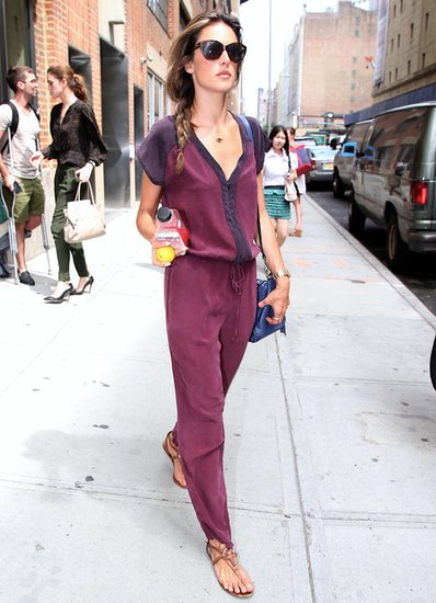 Alessandra Ambrosio worked a colorblock Gypsy05 jumpsuit with a blue bag in NYC.