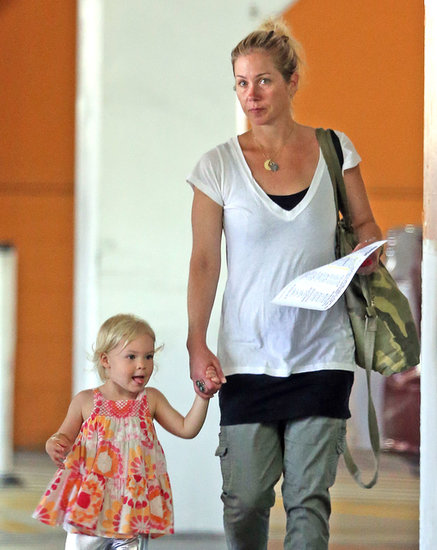 Christina Applegate held her daughter Sadie's hand as they left a gym in LA on Friday.