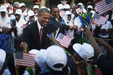 President Obama shook hands with onlookers before a welcoming ceremony in Tanzania in July.