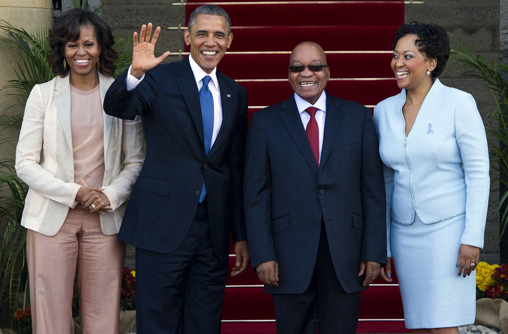 The Obamas stood beside South African President Jacob Zuma and his wife, Thobeka Madiba-Zuma, while visiting Pretoria, South Africa, in June.