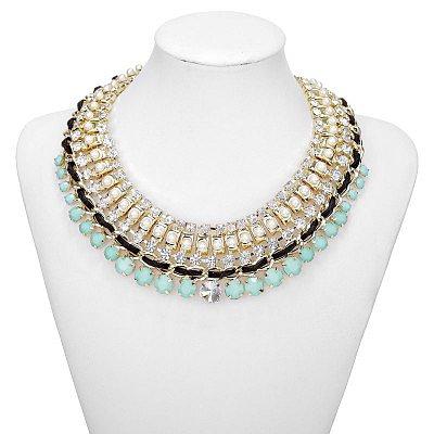 Rhinestone Resin Beads Necklace Bib