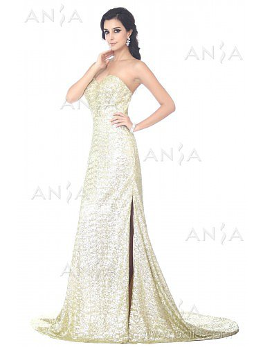 Sheath Column Gold Sweetheart Sequin Evening Dress F22394