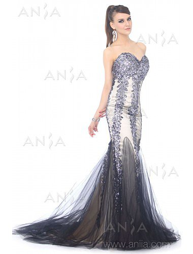 Trumpet Mermaid Silver Sweetheart Sequin Evening Dress F22399