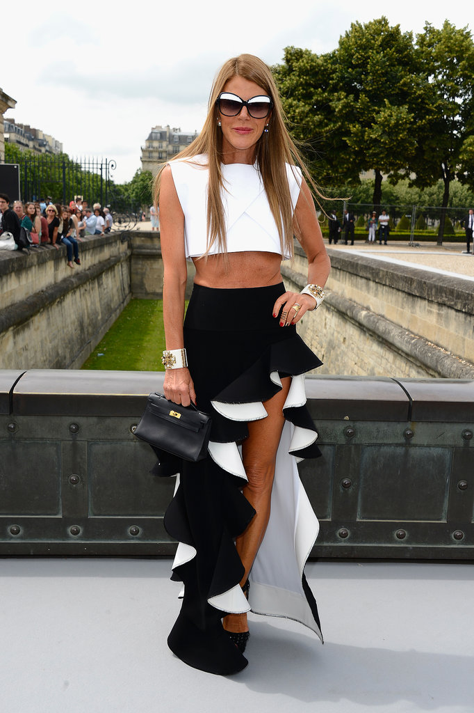 Anna Dello Russo went bold with a crop top and ruffled, flamenco-like maxi. We liked the look the first time she wore it, too!