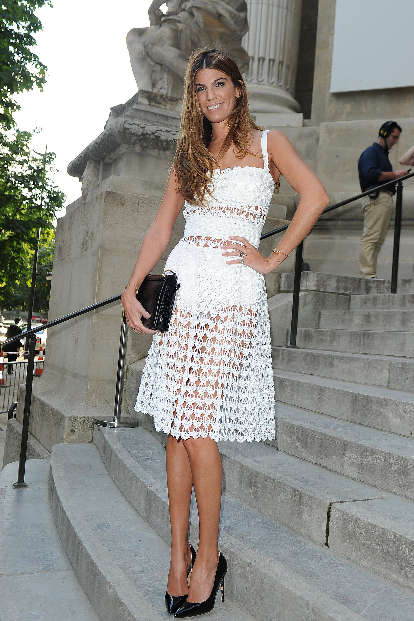 Lacy white fabric is spot-on for a Summer afternoon. A retro cut with visible bloomers felt sneakily sexy outside the Giambattista Valli show.