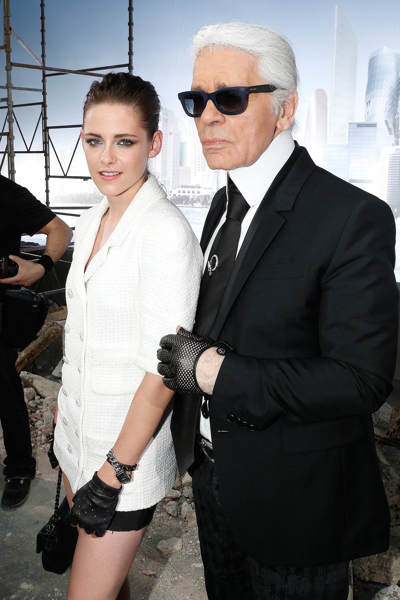 Kristen Stewart and Karl Lagerfeld shared a shot on the runway