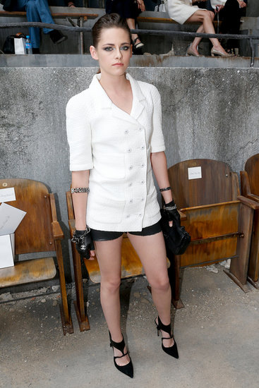 Kristen Stewart posed before taking her seat at the Chanel show on Tuesday.
