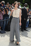 Also at the Chanel show, Milla Jovovich skipped skinnies in favor of wide-leg trousers.