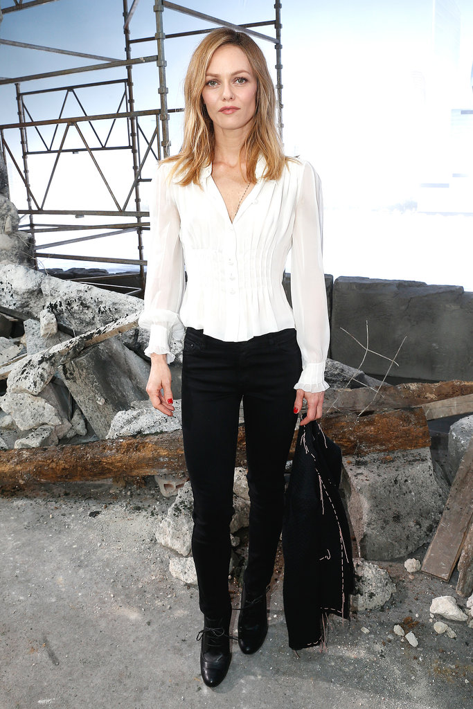 Vanessa Paradis posed before heading into the Chanel show in Tuesday.