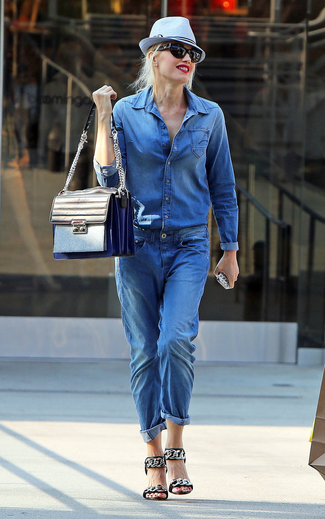 Another denim-on-denim pairing was courtesy of Gwen Stefani. Don't forget to add posh accessories to break up the look.