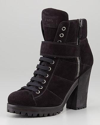 Prada Linea Rossa Lace-Up Ankle Boot, Nero