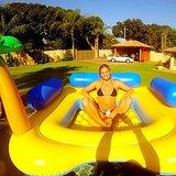 "Bar Refaeli lounged on her ""yellow submarine."" Source: Instagram user barrefaeli"