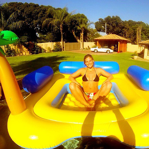 "Bar Refaeli snapped a photo in her ""yellow submarine"" while hanging in her bikini during a trip to Tel Aviv, Israel. Source: Instagram user barrefaeli"