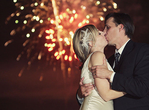 The pair got kissy during the show. Photo by Sedona Bride Photographers via Style Me Pretty