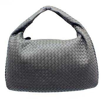 "Bottega Veneta ""115654"" Grey Leather Woven Hobo"