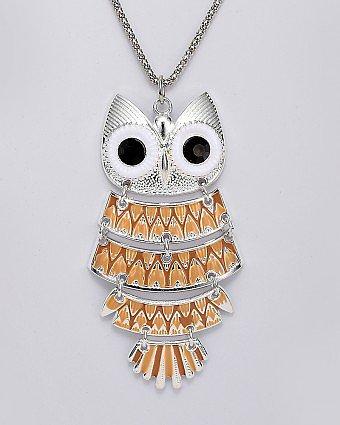 Coffee Enamel Funky Owl Pendant