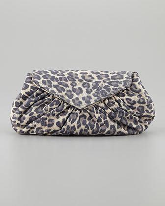 Lauren Merkin Diana Washed Leopard-Print Clutch Bag