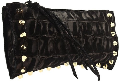 Linea Pelle - Jade Croco Oversized Clutch (Black) - Bags and Luggage