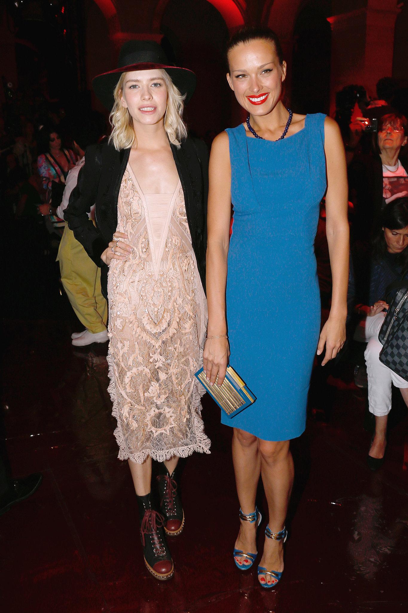 Elena Perminova and Petra Nemcova had a hot ticket to the Elie Saab Couture show.
