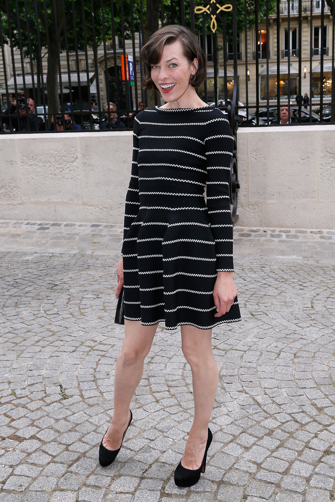 Milla Jovovich posed outside of Bulgari's The Diva Event for Paris Haute Couture on Tuesday.