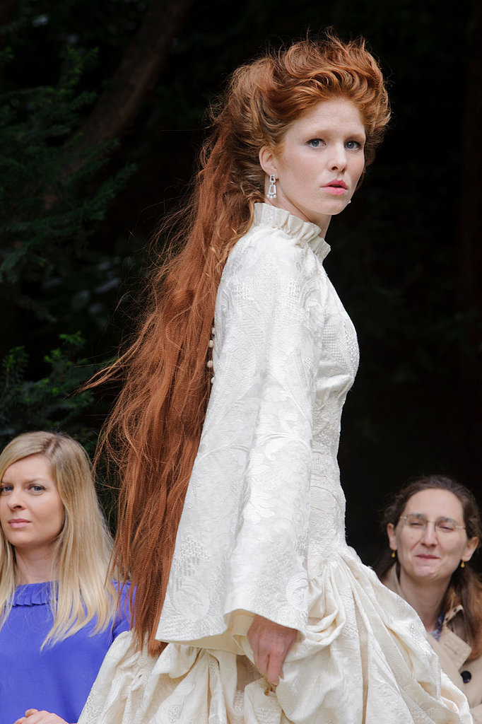 There was a medieval theme at the Franck Sorbier presentation, where models wore hair flowing far down their backs and minimal makeup.