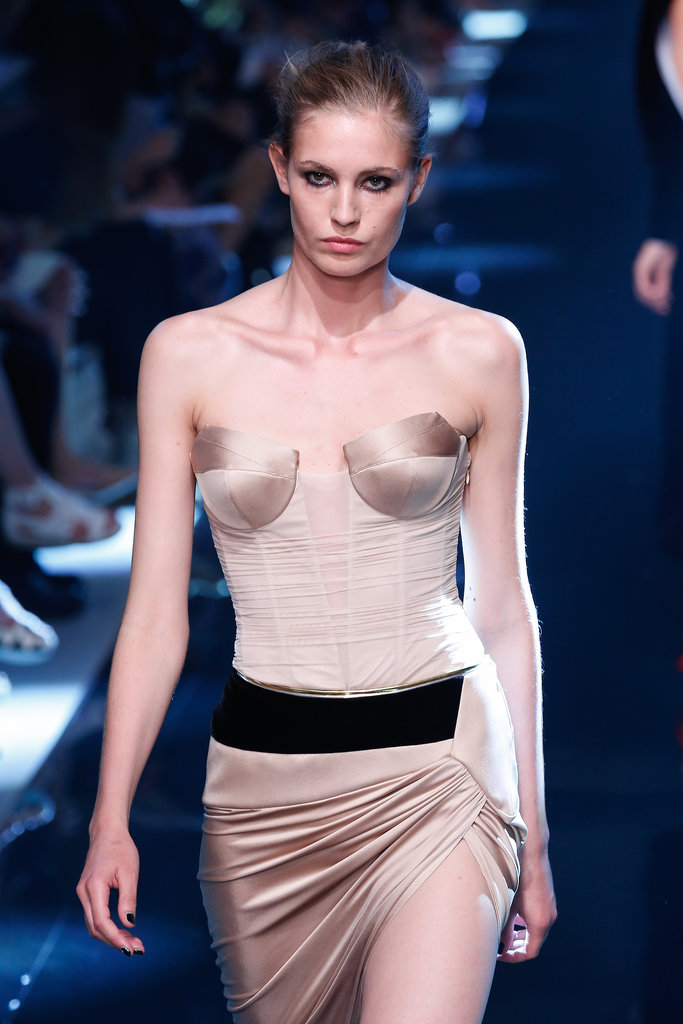 We had to inspect the craftsmanship of this satiny bustier top on the Alexandre Vauthier Haute Couture Fall 2013 runway.