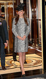 The Duchess of Cambridge wore several stylish maternity ensembles throughout her pregnancy, and POPSUGAR Fashion got all the details when she wowed once more with a statement coat for her final prebaby appearance. While christening a Princess Cruises ship in Southampton, England, Kate Middleton wore a Dalmatian-print Hobbs coat with black pumps and a coordinating fascinator.