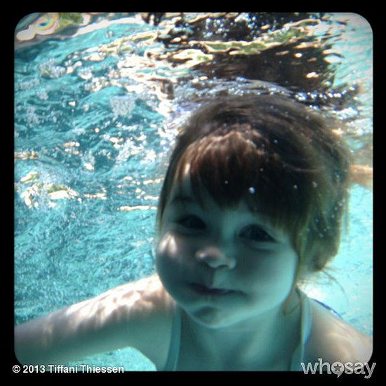 Harper Smith escaped the heat under water. Source: Instagram user tathiessen