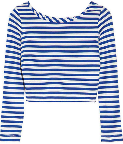 By Malene Birger Ticcal striped stretch-jersey cropped top