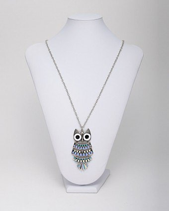 Antique Silver Enamel Doe Eyed Owl Pendant