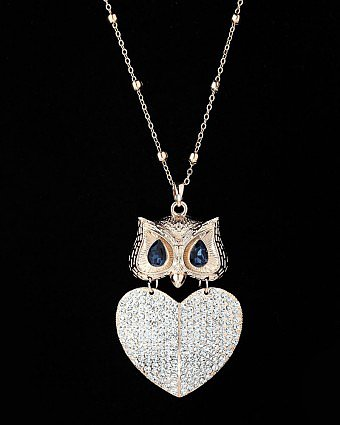 Gold Plated Heart Owl Pendant