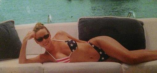 Mariah Carey posed in an American-flag-print bikini. Source: Twitter user MariahCarey