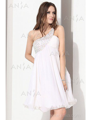 A Line White One Shoulder Chiffon Cocktail Dress E12005