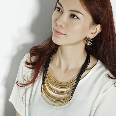 # Gold Tube Black Cord Necklace