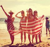 Lauren Conrad showed her patriotic pride with friends on the beach.  Instagram user LaurenConrad