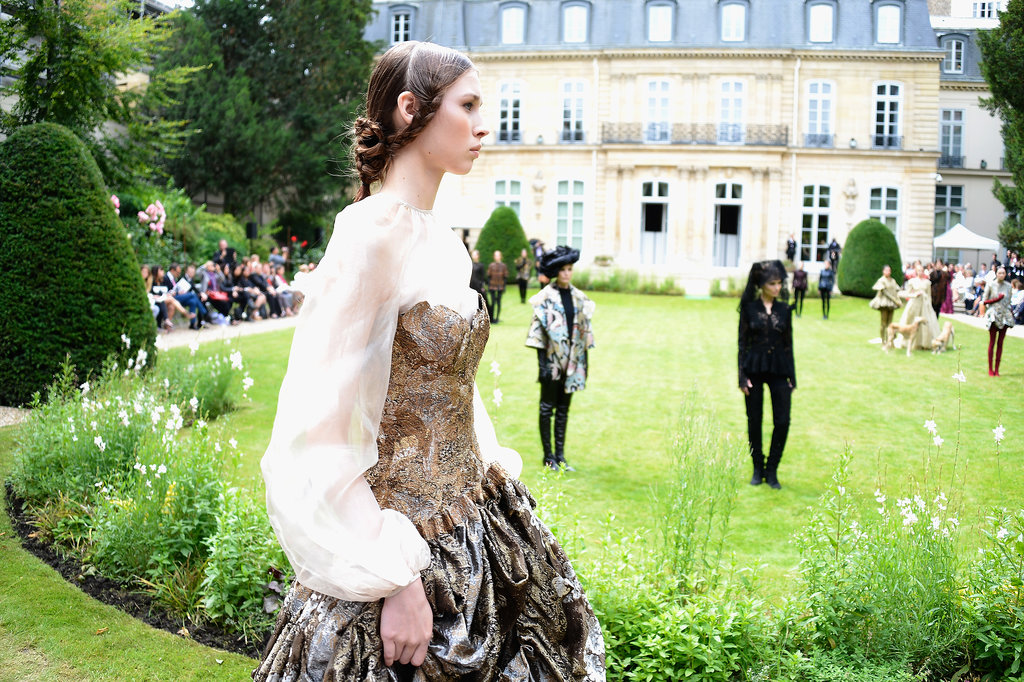 The garden was a flawless setting for Franck Sorbier's romantic designs.