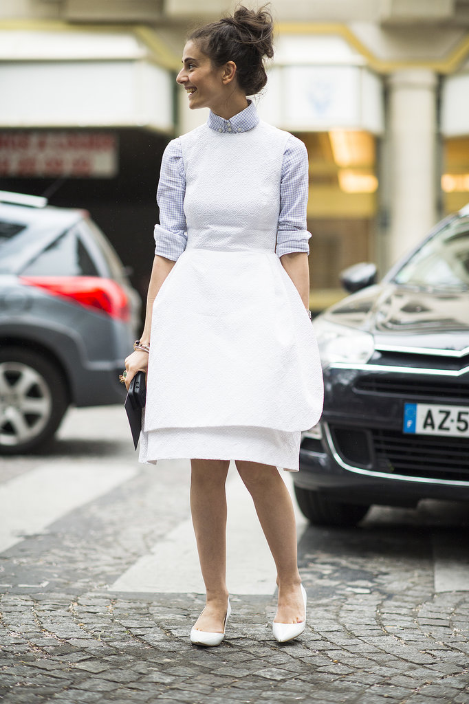 Structured to hold its shape, this white-dress look put a serious style spin on the jumper look. Source: Le 21ème | Adam Katz Sinding