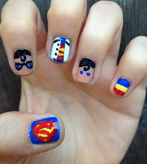 Clark Kent meets Superman in this comic-book-inspired nail design. It was the top pick of the superhero designs we gathered to honor the release of Man of Steel. Source: Miscellaneous Manicures