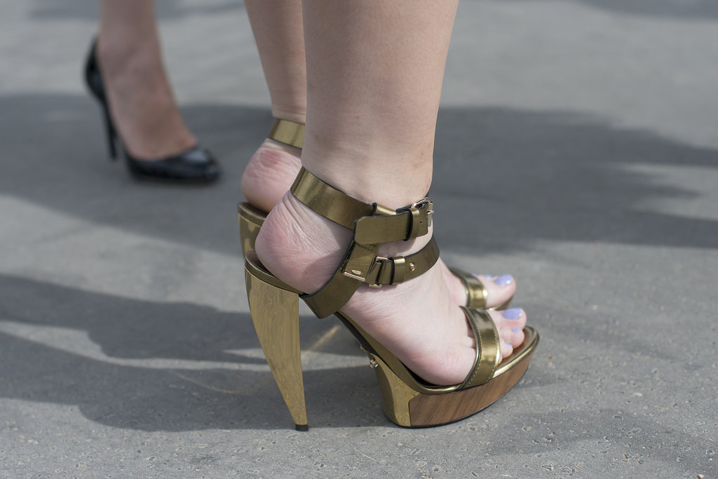 This street style fashionista struck gold with these Lanvin sandals.